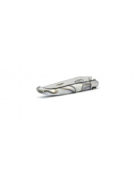 Laguiole pliant prestige, manche en acrylique nacré perle de 11 cm avec 1 mitre inox brillant