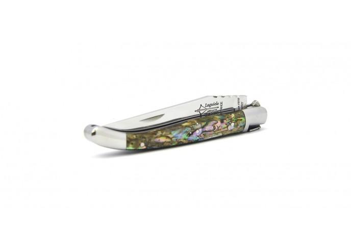 Laguiole pliant prestige, lame seule, manche en abalone de 11 cm avec 2 mitres inox brillant