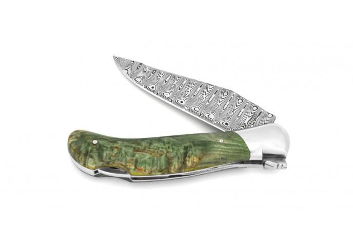 Laguiole pliant Grande Nature Lame Damas, manche en bouleau stabilisé vert de 12 cm, finition brillant
