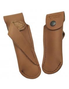 Étui cuir ceinture pour couteaux pliants de 11 et 12 cm, marron